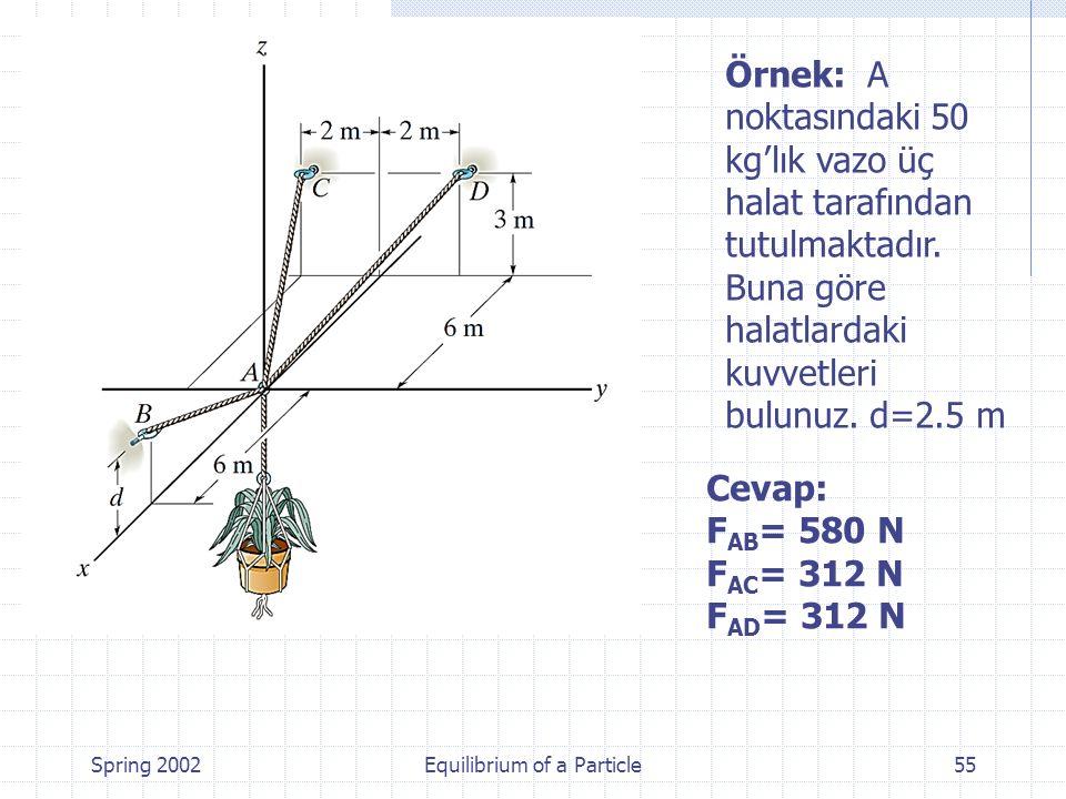 Spring 2002Equilibrium of a Particle55 Örnek: A noktasındaki 50 kg'lık vazo üç halat tarafından tutulmaktadır. Buna göre halatlardaki kuvvetleri bulun