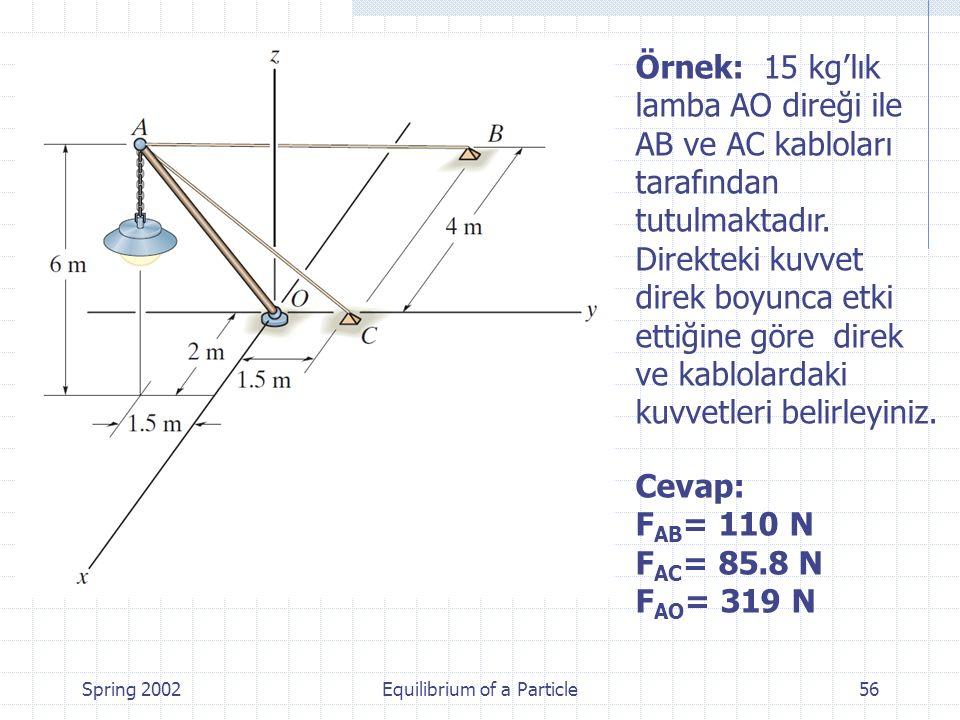 Spring 2002Equilibrium of a Particle56 Örnek: 15 kg'lık lamba AO direği ile AB ve AC kabloları tarafından tutulmaktadır. Direkteki kuvvet direk boyunc