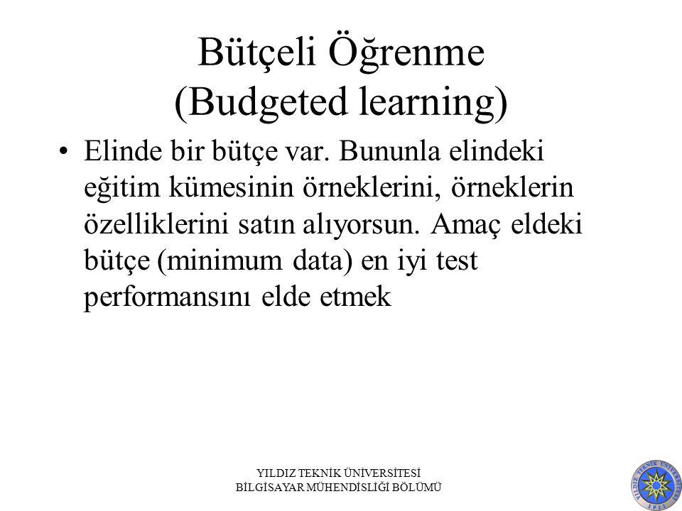 Bütçeli Öğrenme (Budgeted learning) Elinde bir bütçe var. Bununla elindeki eğitim kümesinin örneklerini, örneklerin özelliklerini satın alıyorsun. Ama