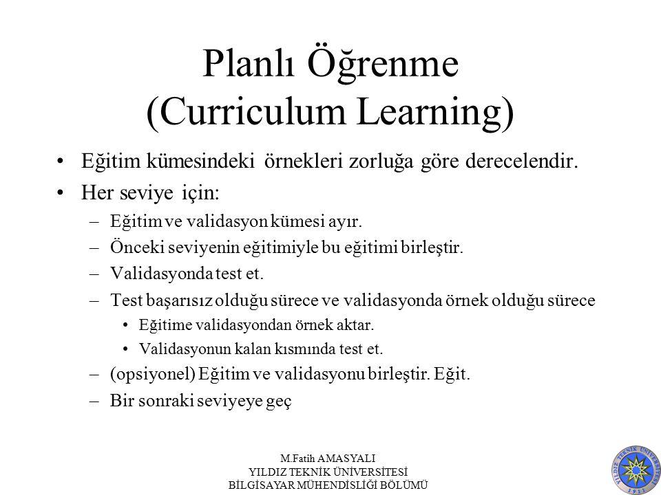 Planlı Öğrenme (Curriculum Learning) Eğitim kümesindeki örnekleri zorluğa göre derecelendir. Her seviye için: –Eğitim ve validasyon kümesi ayır. –Önce