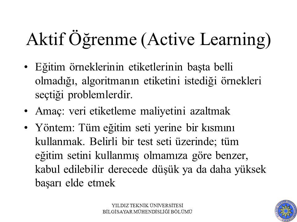 Aktif Öğrenme (Active Learning) Eğitim örneklerinin etiketlerinin başta belli olmadığı, algoritmanın etiketini istediği örnekleri seçtiği problemlerdir.