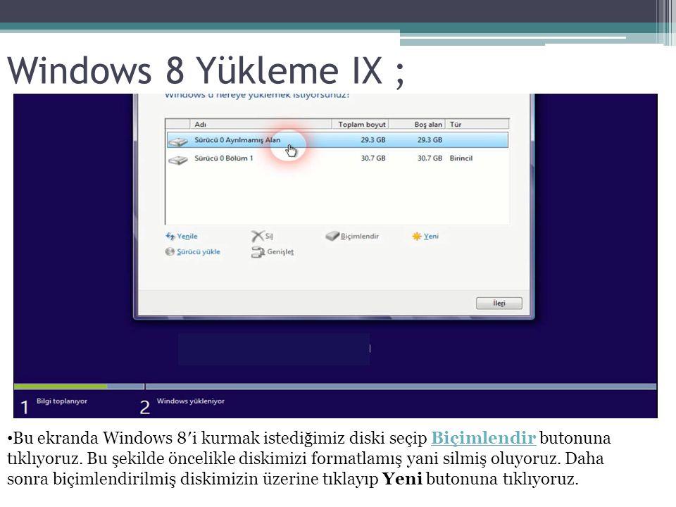 Windows 8 Yükleme IX ; Bu ekranda Windows 8′i kurmak istediğimiz diski seçip Biçimlendir butonuna tıklıyoruz. Bu şekilde öncelikle diskimizi formatlam
