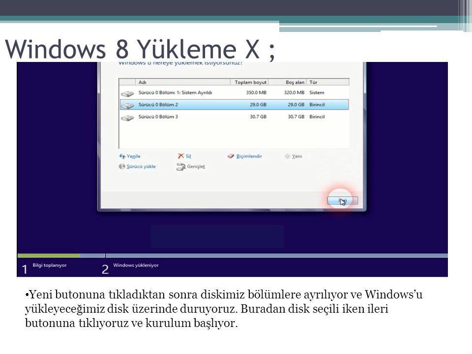 Windows 8 Yükleme X ; Yeni butonuna tıkladıktan sonra diskimiz bölümlere ayrılıyor ve Windows'u yükleyeceğimiz disk üzerinde duruyoruz.