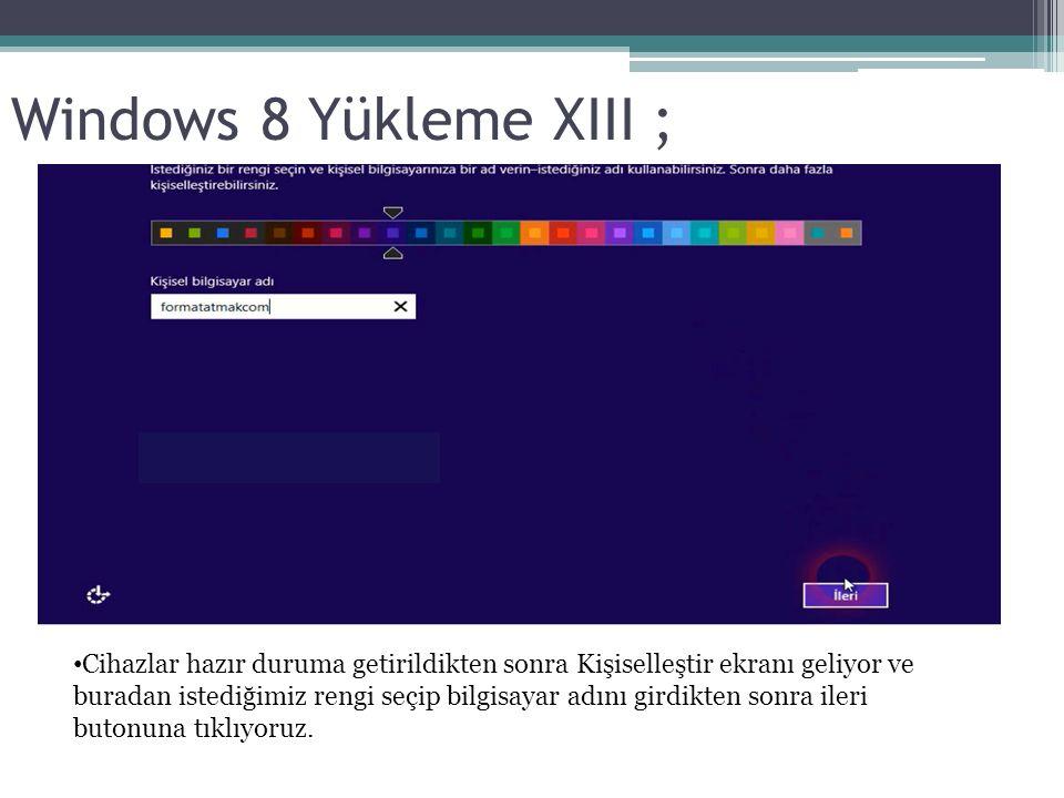 Windows 8 Yükleme XIII ; Cihazlar hazır duruma getirildikten sonra Kişiselleştir ekranı geliyor ve buradan istediğimiz rengi seçip bilgisayar adını girdikten sonra ileri butonuna tıklıyoruz.