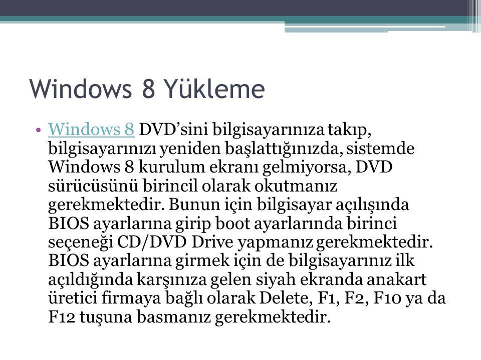 Windows 8 Yükleme Windows 8 DVD'sini bilgisayarınıza takıp, bilgisayarınızı yeniden başlattığınızda, sistemde Windows 8 kurulum ekranı gelmiyorsa, DVD sürücüsünü birincil olarak okutmanız gerekmektedir.