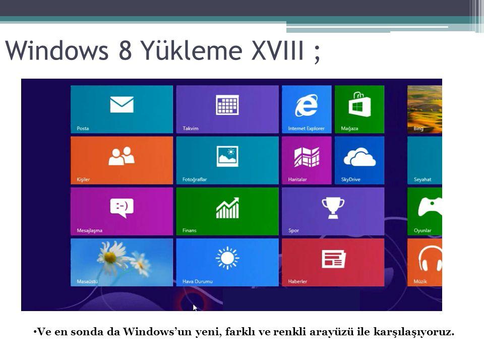 Windows 8 Yükleme XVIII ; Ve en sonda da Windows'un yeni, farklı ve renkli arayüzü ile karşılaşıyoruz.