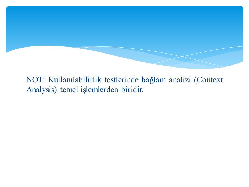 NOT: Kullanılabilirlik testlerinde bağlam analizi (Context Analysis) temel işlemlerden biridir.