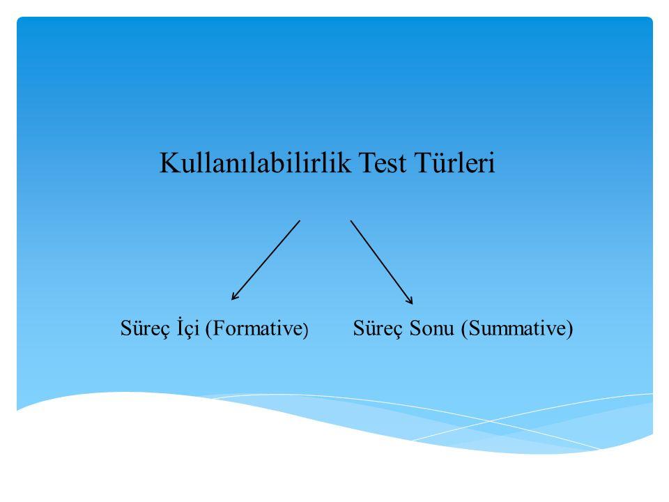 Kullanılabilirlik Test Türleri Süreç İçi (Formative ) Süreç Sonu (Summative)
