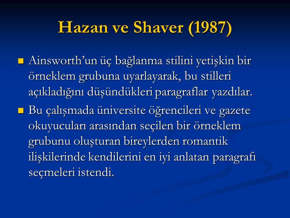 Hazan ve Shaver (1987) Ainsworth'un üç bağlanma stilini yetişkin bir örneklem grubuna uyarlayarak, bu stilleri açıkladığını düşündükleri paragraflar y