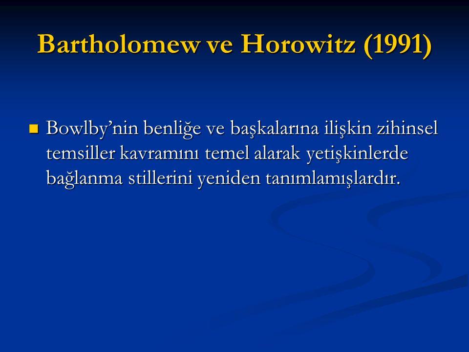 Bartholomew ve Horowitz (1991) Bowlby'nin benliğe ve başkalarına ilişkin zihinsel temsiller kavramını temel alarak yetişkinlerde bağlanma stillerini y