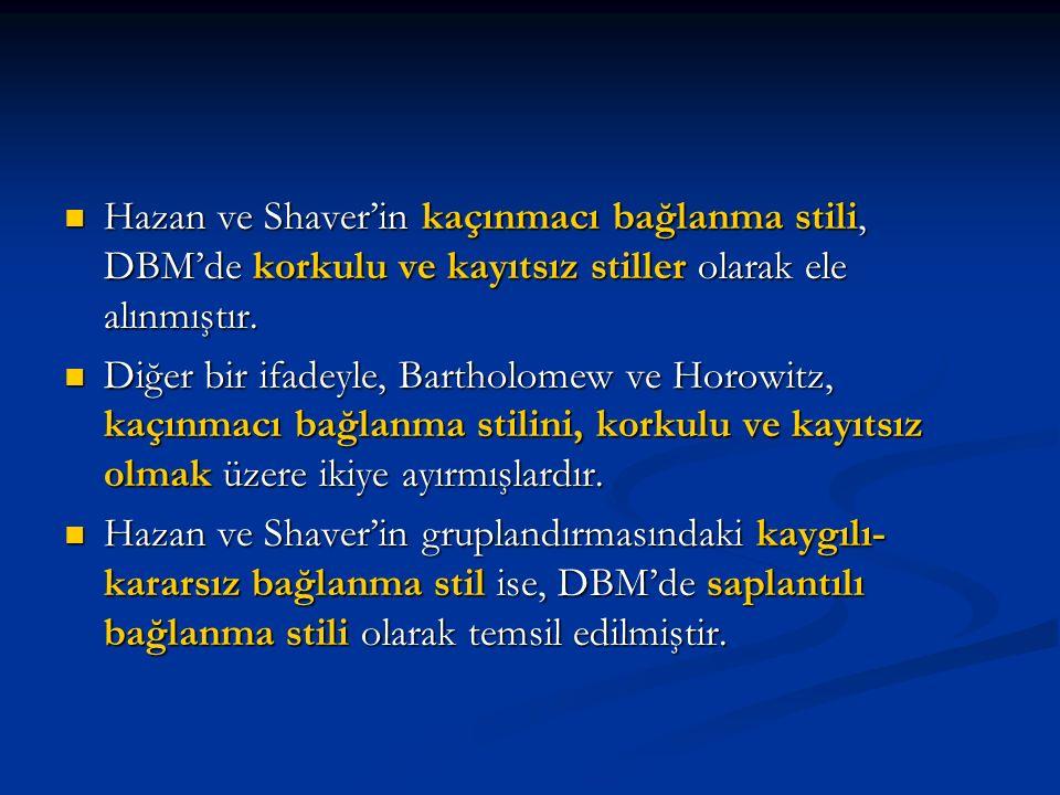 Hazan ve Shaver'in kaçınmacı bağlanma stili, DBM'de korkulu ve kayıtsız stiller olarak ele alınmıştır. Hazan ve Shaver'in kaçınmacı bağlanma stili, DB