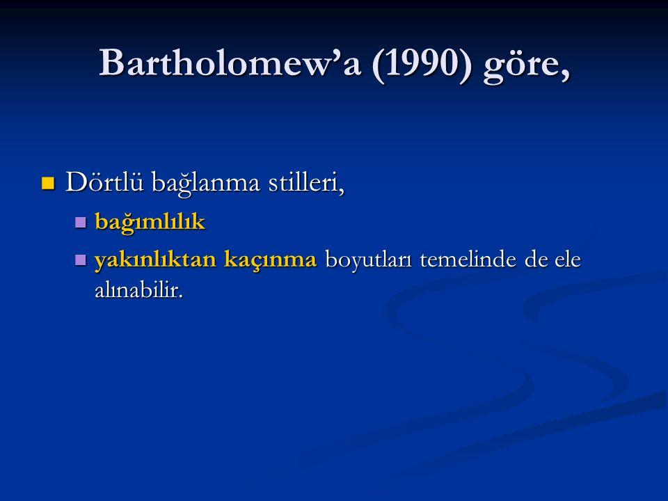 Bartholomew'a (1990) göre, Dörtlü bağlanma stilleri, Dörtlü bağlanma stilleri, bağımlılık bağımlılık yakınlıktan kaçınma boyutları temelinde de ele al
