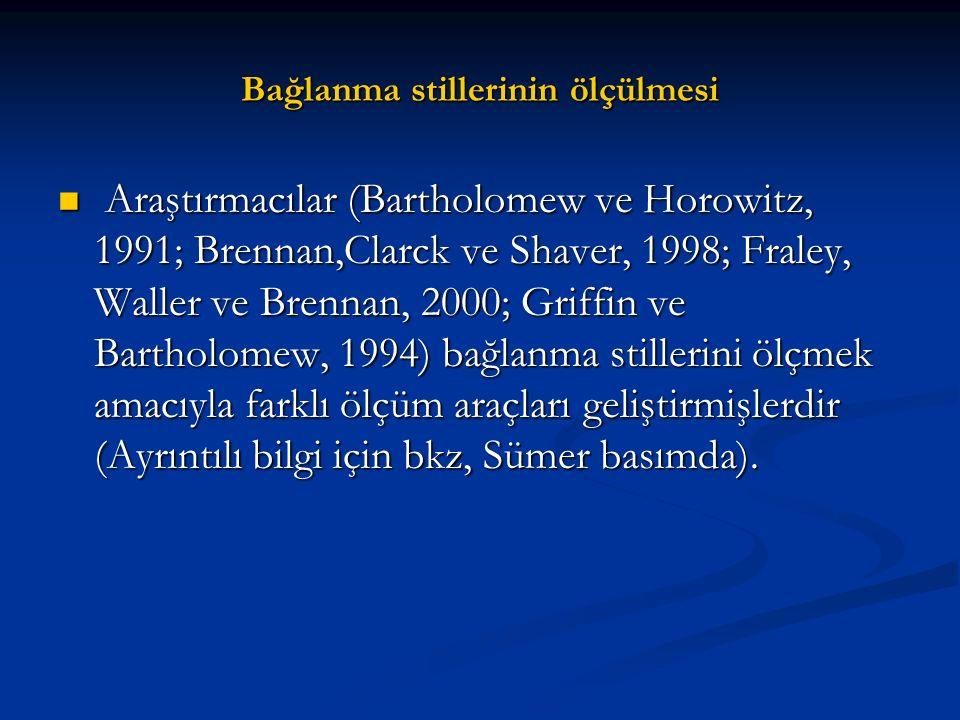 Bağlanma stillerinin ölçülmesi Araştırmacılar (Bartholomew ve Horowitz, 1991; Brennan,Clarck ve Shaver, 1998; Fraley, Waller ve Brennan, 2000; Griffin
