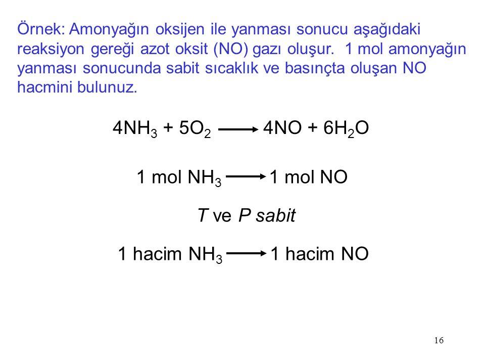 16 Örnek: Amonyağın oksijen ile yanması sonucu aşağıdaki reaksiyon gereği azot oksit (NO) gazı oluşur.
