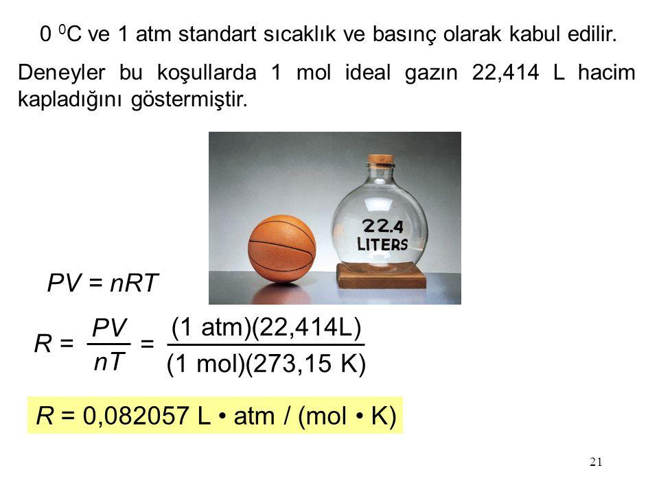21 0 0 C ve 1 atm standart sıcaklık ve basınç olarak kabul edilir.