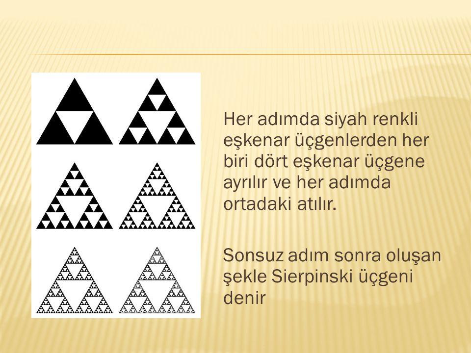 Her adımda siyah renkli eşkenar üçgenlerden her biri dört eşkenar üçgene ayrılır ve her adımda ortadaki atılır. Sonsuz adım sonra oluşan şekle Sierpin