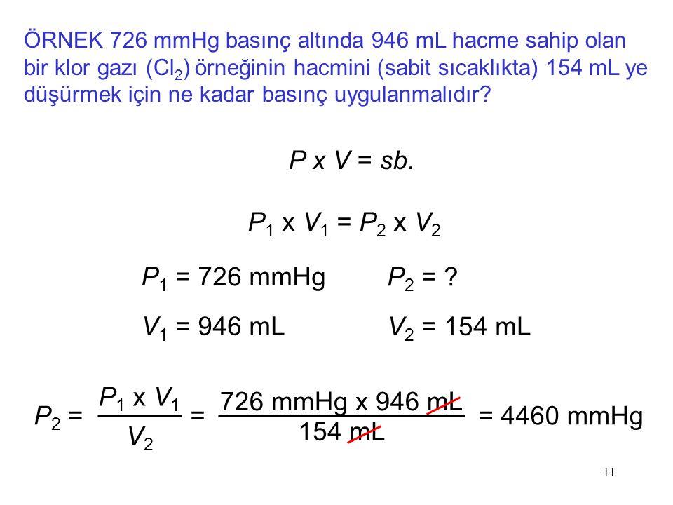 11 ÖRNEK 726 mmHg basınç altında 946 mL hacme sahip olan bir klor gazı (Cl 2 ) örneğinin hacmini (sabit sıcaklıkta) 154 mL ye düşürmek için ne kadar b