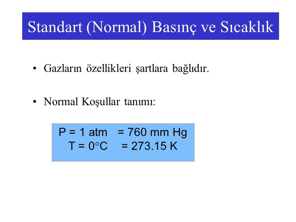 Standart (Normal) Basınç ve Sıcaklık Gazların özellikleri şartlara bağlıdır. Normal Koşullar tanımı: P = 1 atm = 760 mm Hg T = 0°C = 273.15 K