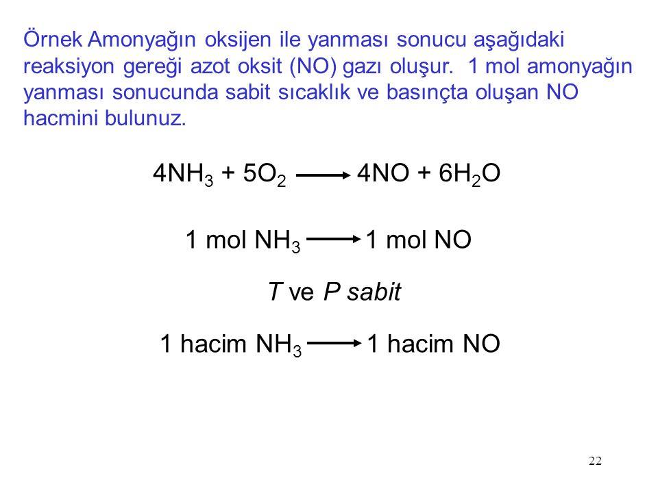 22 Örnek Amonyağın oksijen ile yanması sonucu aşağıdaki reaksiyon gereği azot oksit (NO) gazı oluşur. 1 mol amonyağın yanması sonucunda sabit sıcaklık