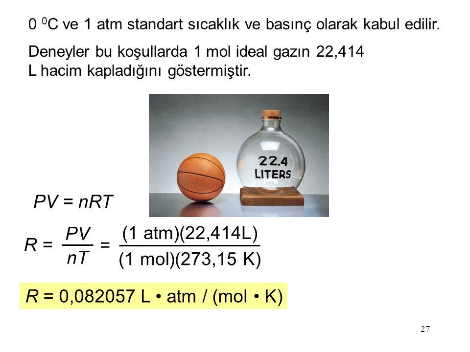27 0 0 C ve 1 atm standart sıcaklık ve basınç olarak kabul edilir. PV = nRT R = PV nT = (1 atm)(22,414L) (1 mol)(273,15 K) R = 0,082057 L atm / (mol K