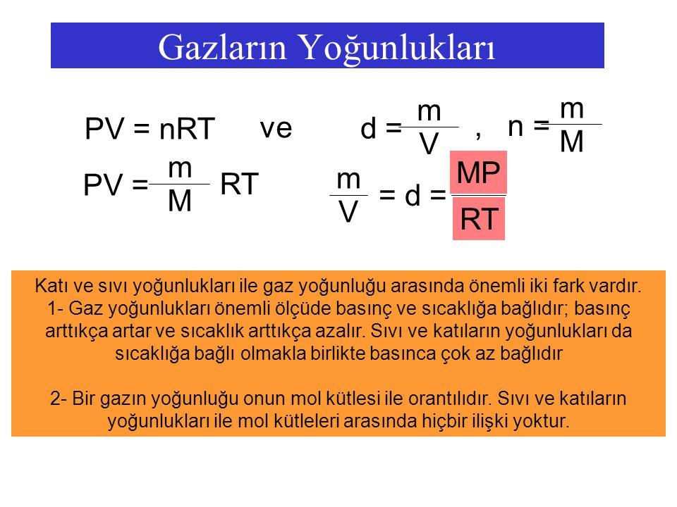 Gazların Yoğunlukları PV = nRT ve d = m V PV =PV = m M RT MP RT V m = d =, n = m M Katı ve sıvı yoğunlukları ile gaz yoğunluğu arasında önemli iki far