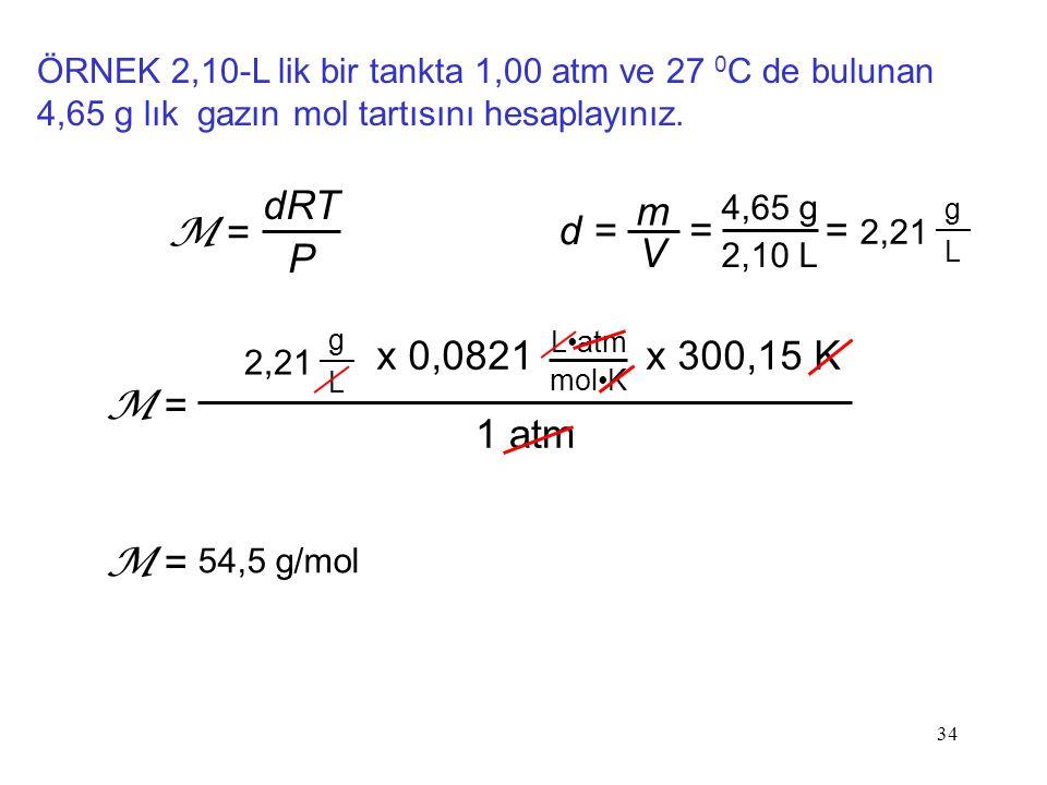34 ÖRNEK 2,10-L lik bir tankta 1,00 atm ve 27 0 C de bulunan 4,65 g lık gazın mol tartısını hesaplayınız. dRT P M = d = m V 4,65 g 2,10 L = = 2,21 g L