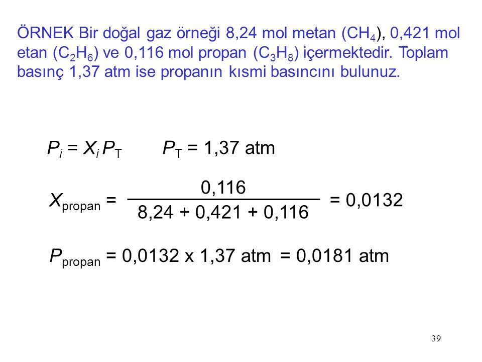 39 ÖRNEK Bir doğal gaz örneği 8,24 mol metan (CH 4 ), 0,421 mol etan (C 2 H 6 ) ve 0,116 mol propan (C 3 H 8 ) içermektedir. Toplam basınç 1,37 atm is
