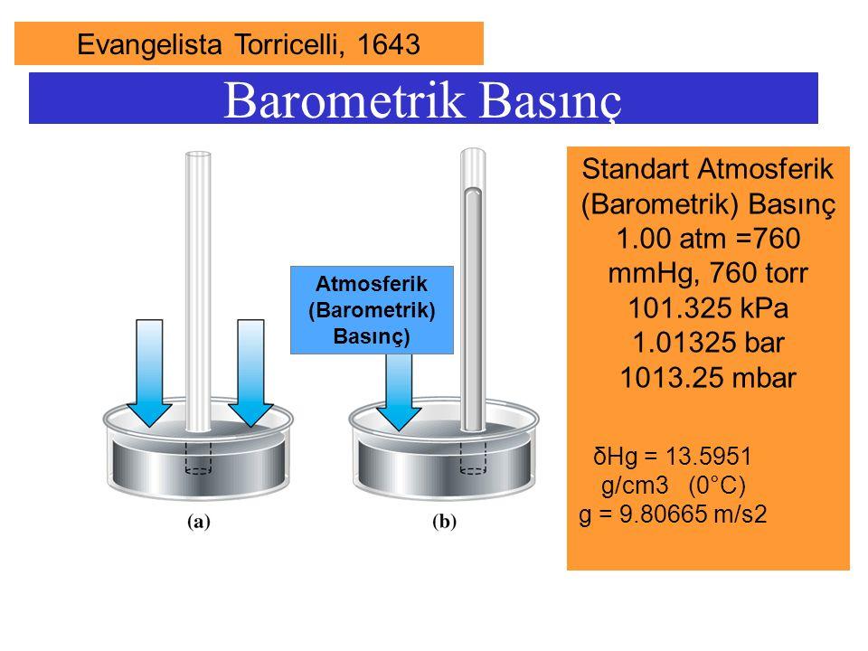 Barometrik Basınç Standart Atmosferik (Barometrik) Basınç 1.00 atm =760 mmHg, 760 torr 101.325 kPa 1.01325 bar 1013.25 mbar Atmosferik (Barometrik) Ba