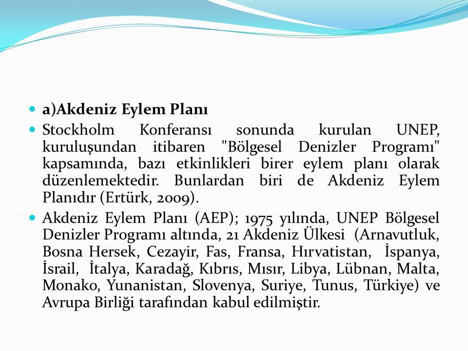 a)Akdeniz Eylem Planı Stockholm Konferansı sonunda kurulan UNEP, kuruluşundan itibaren Bölgesel Denizler Programı kapsamında, bazı etkinlikleri birer eylem planı olarak düzenlemektedir.