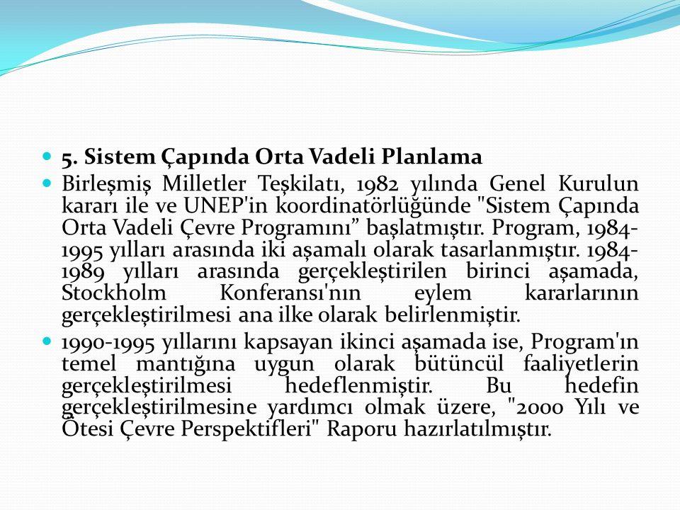 5. Sistem Çapında Orta Vadeli Planlama Birleşmiş Milletler Teşkilatı, 1982 yılında Genel Kurulun kararı ile ve UNEP'in koordinatörlüğünde