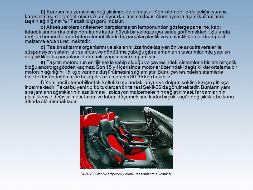 b) Karoser malzemesinin değiştirilmesi ile olmuştur. Yeni otomobillerde çeliğin yanına karoser alaşım elementi olarak Alüminyum kullanılmaktadır. Alüm
