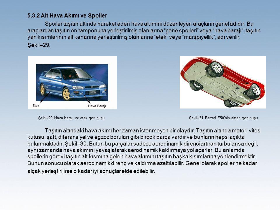 5.3.2 Alt Hava Akımı ve Spoiler Spoiler taşıtın altında hareket eden hava akımını düzenleyen araçların genel adıdır. Bu araçlardan taşıtın ön tamponun