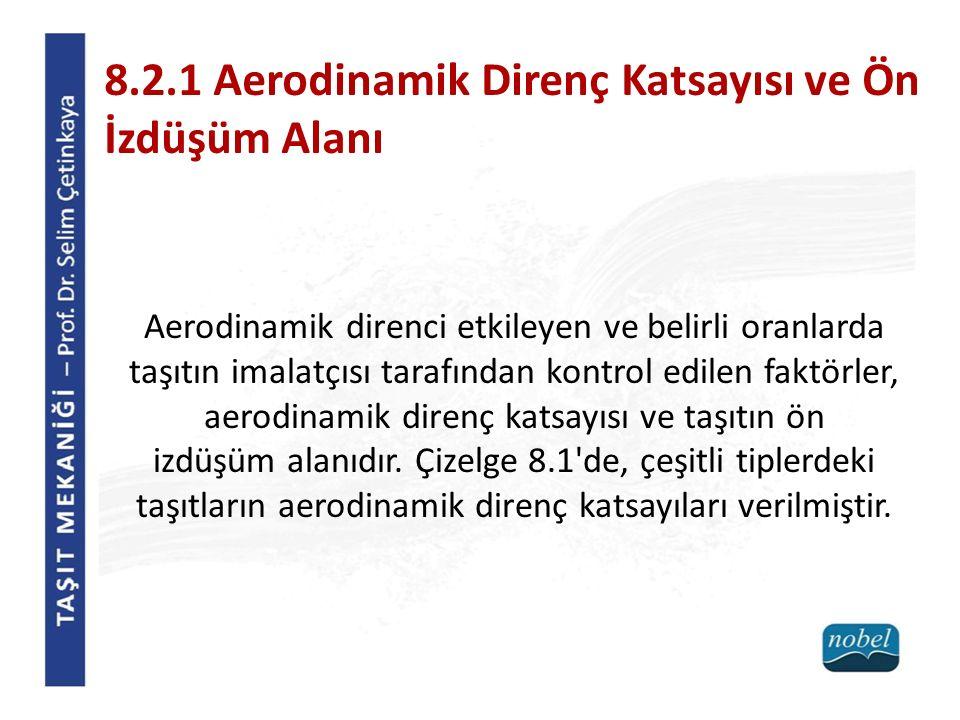 8.2.1 Aerodinamik Direnç Katsayısı ve Ön İzdüşüm Alanı Aerodinamik direnci etkileyen ve belirli oranlarda taşıtın imalatçısı tarafından kontrol edilen