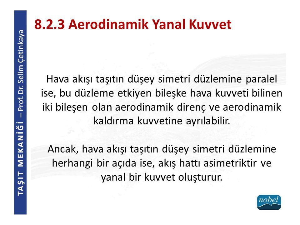 8.2.3 Aerodinamik Yanal Kuvvet Hava akışı taşıtın düşey simetri düzlemine paralel ise, bu düzleme etkiyen bileşke hava kuvveti bilinen iki bileşen ola