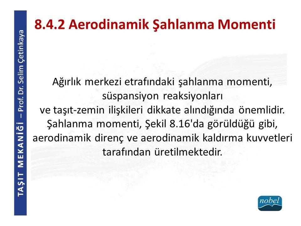 8.4.2 Aerodinamik Şahlanma Momenti Ağırlık merkezi etrafındaki şahlanma momenti, süspansiyon reaksiyonları ve taşıt-zemin ilişkileri dikkate alındığın
