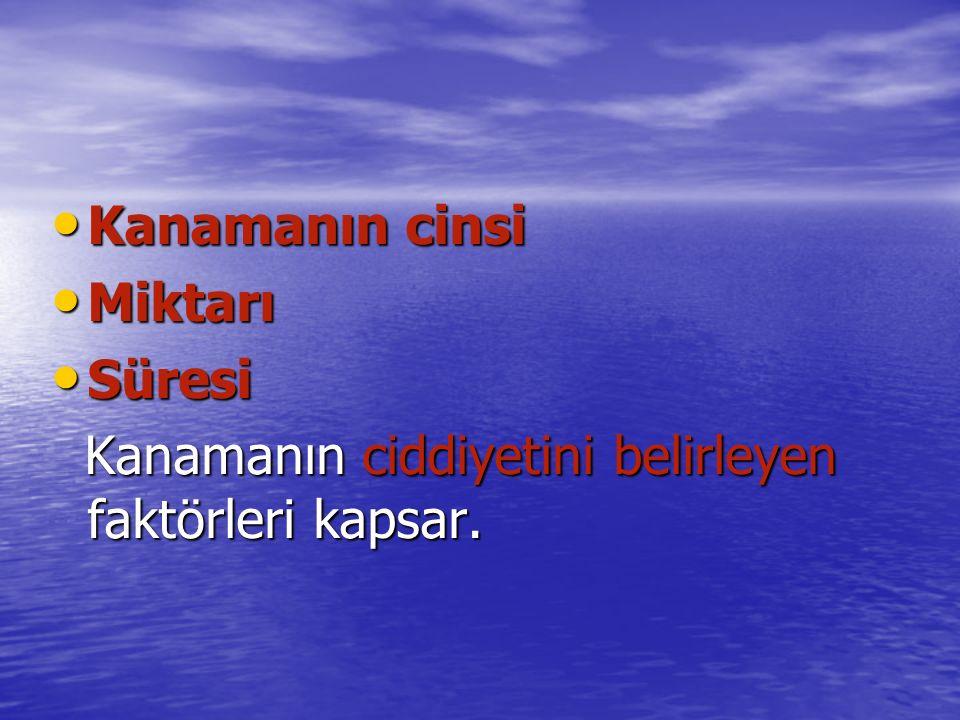 Kanamanın cinsi Kanamanın cinsi Miktarı Miktarı Süresi Süresi Kanamanın ciddiyetini belirleyen faktörleri kapsar.