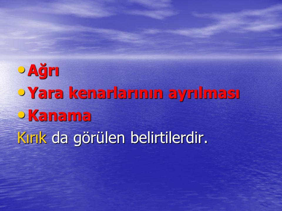 Ağrı Ağrı Yara kenarlarının ayrılması Yara kenarlarının ayrılması Kanama Kanama Kırık da görülen belirtilerdir.