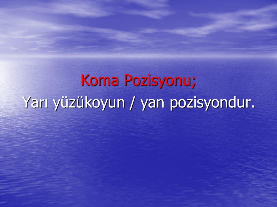Koma Pozisyonu; Yarı yüzükoyun / yan pozisyondur.