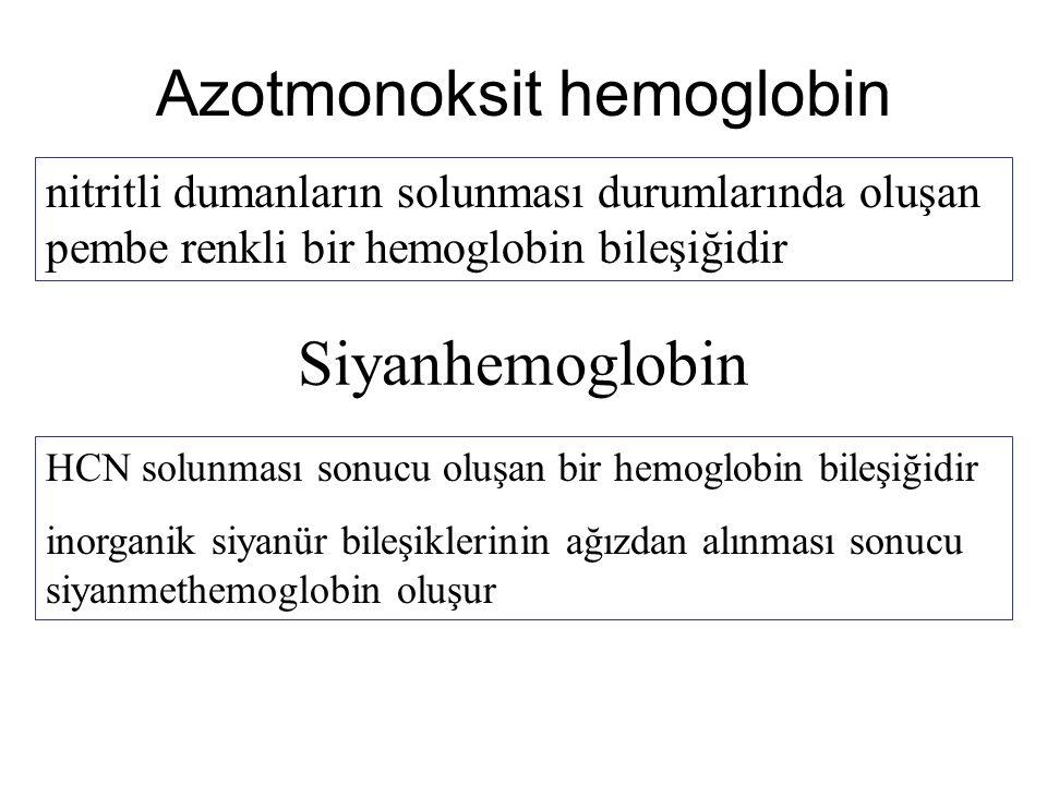 Azotmonoksit hemoglobin nitritli dumanların solunması durumlarında oluşan pembe renkli bir hemoglobin bileşiğidir Siyanhemoglobin HCN solunması sonucu