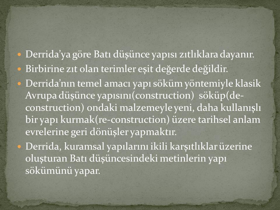 Derrida, işe yapı sökümünde başı çeken figür olarak yapı ve kaynağı olan merkez fikrini irdelemeyle başlamıştır.