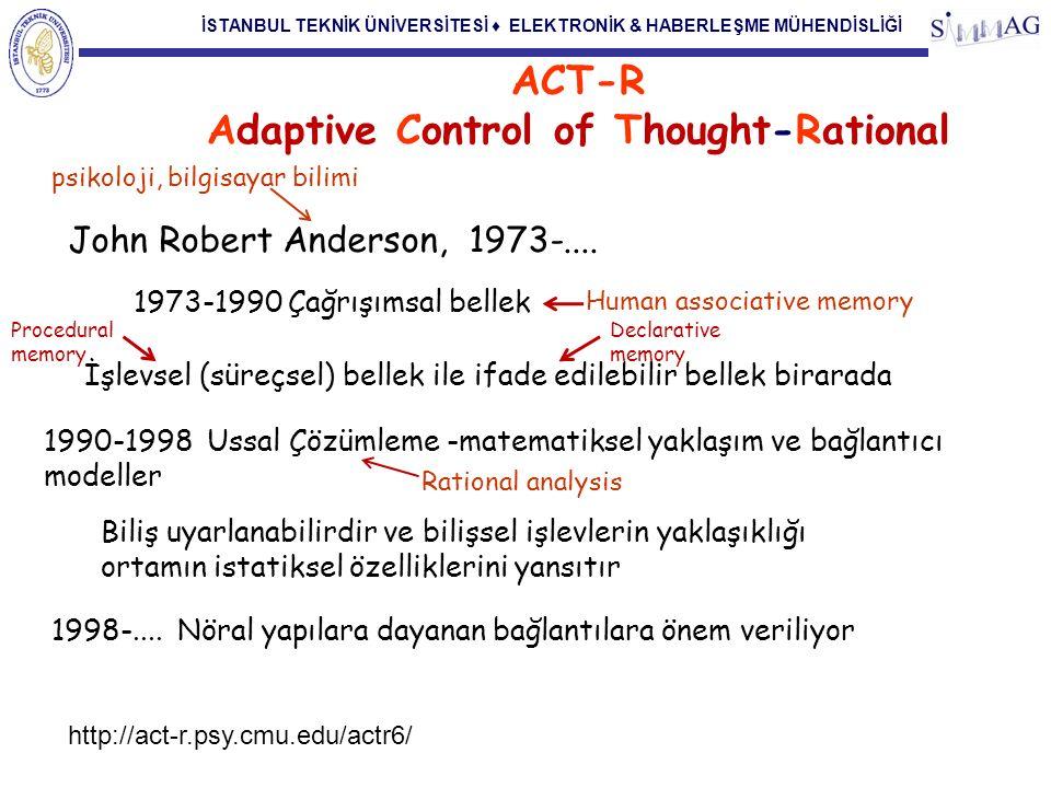 İSTANBUL TEKNİK ÜNİVERSİTESİ ♦ ELEKTRONİK & HABERLEŞME MÜHENDİSLİĞİ ACT-R Adaptive Control of Thought-Rational John Robert Anderson, 1973-.... psikolo