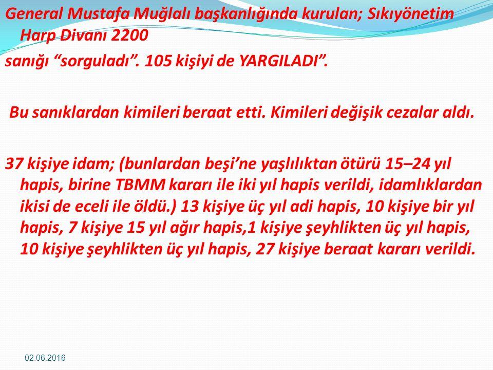 General Mustafa Muğlalı başkanlığında kurulan; Sıkıyönetim Harp Divanı 2200 sanığı sorguladı .