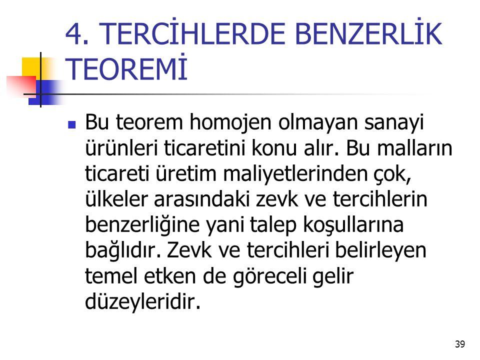 39 4.TERCİHLERDE BENZERLİK TEOREMİ Bu teorem homojen olmayan sanayi ürünleri ticaretini konu alır.