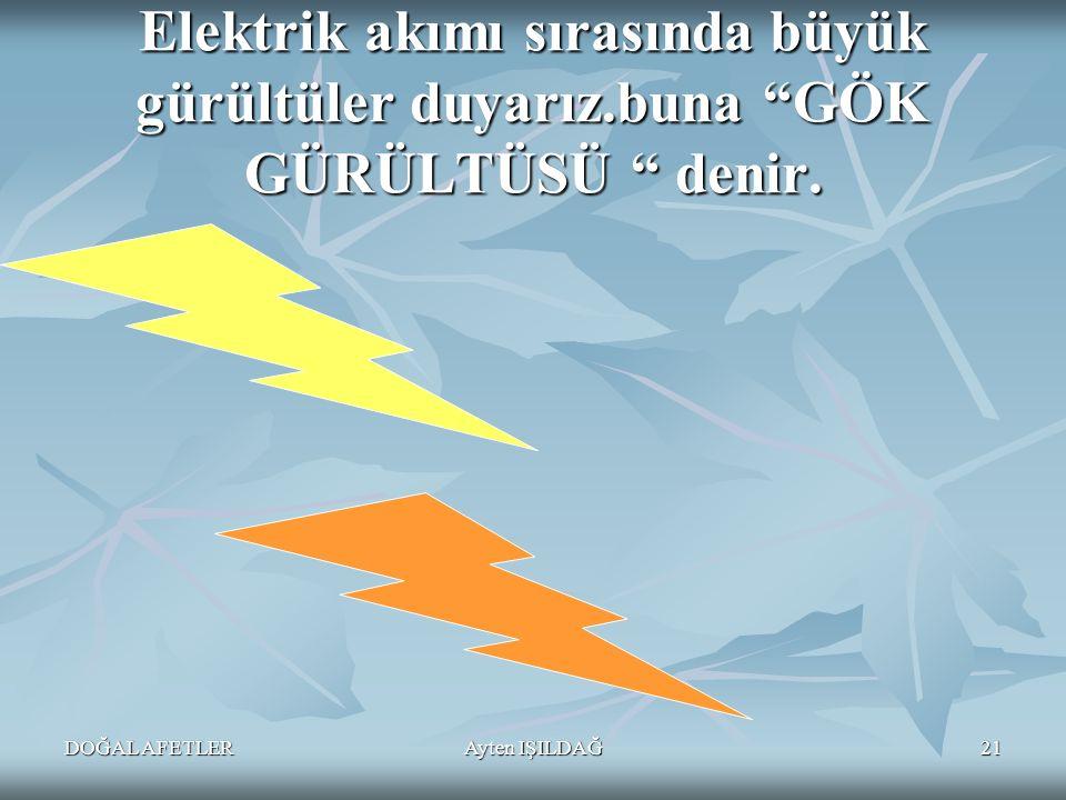 """DOĞAL AFETLERAyten IŞILDAĞ21 Elektrik akımı sırasında büyük gürültüler duyarız.buna """"GÖK GÜRÜLTÜSÜ """" denir."""