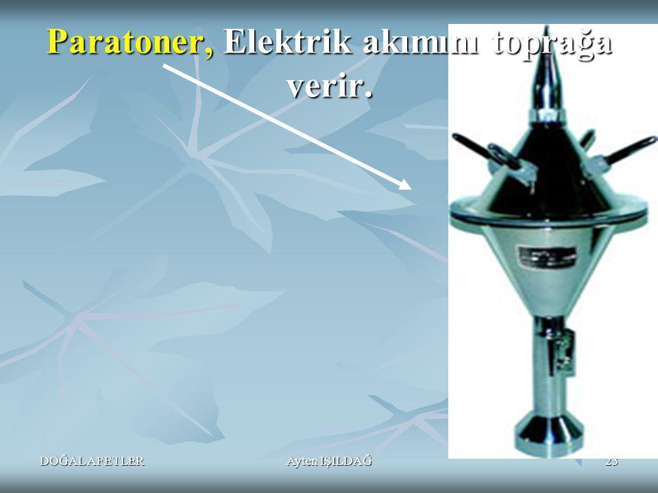 DOĞAL AFETLERAyten IŞILDAĞ23 Paratoner, Elektrik akımını toprağa verir.