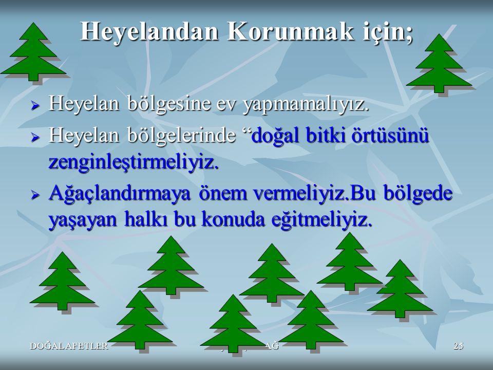 """DOĞAL AFETLERAyten IŞILDAĞ25 Heyelandan Korunmak için;  Heyelan bölgesine ev yapmamalıyız.  Heyelan bölgelerinde """"doğal bitki örtüsünü zenginleştirm"""