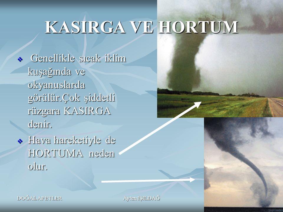 DOĞAL AFETLERAyten IŞILDAĞ26 KASIRGA VE HORTUM  Genellikle sıcak iklim kuşağında ve okyanuslarda görülür.Çok şiddetli rüzgara KASIRGA denir.  Hava h