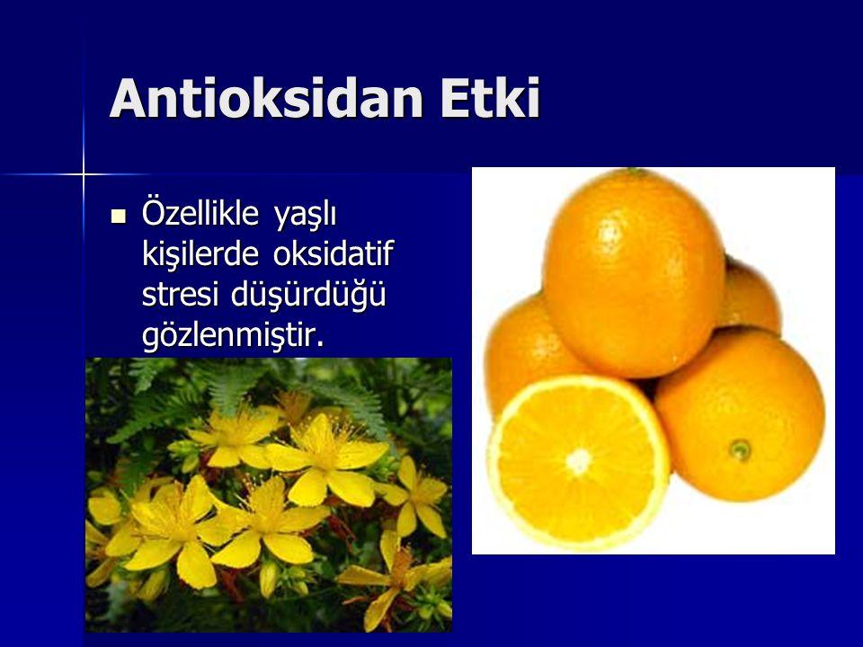 Antioksidan Etki Özellikle yaşlı kişilerde oksidatif stresi düşürdüğü gözlenmiştir.