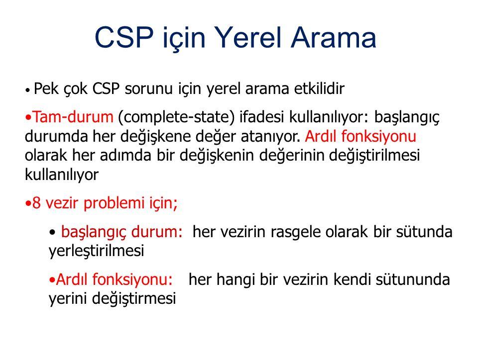 CSP için Yerel Arama Pek çok CSP sorunu için yerel arama etkilidir Tam-durum (complete-state) ifadesi kullanılıyor: başlangıç durumda her değişkene de
