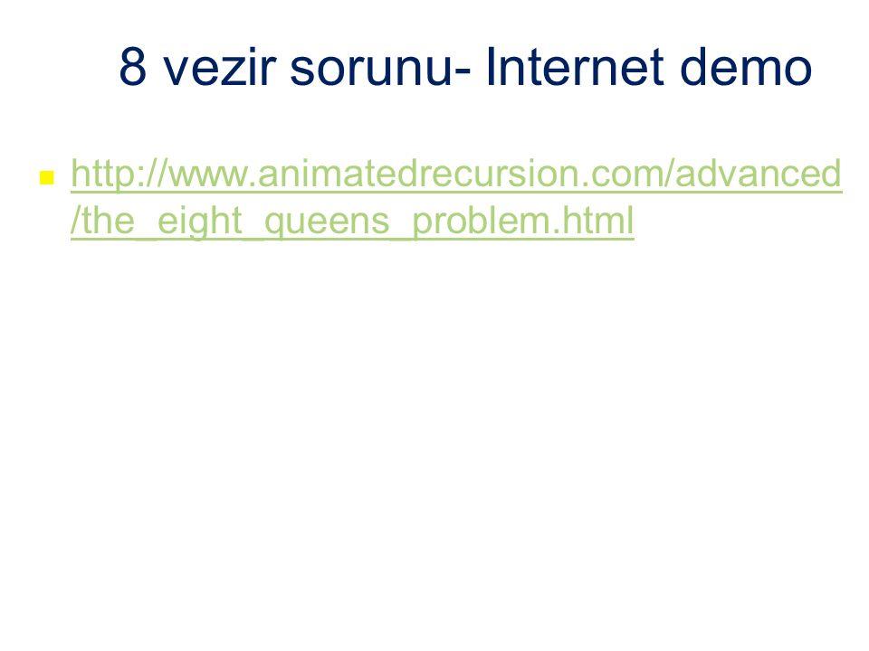 8 vezir sorunu- Internet demo http://www.animatedrecursion.com/advanced /the_eight_queens_problem.html http://www.animatedrecursion.com/advanced /the_